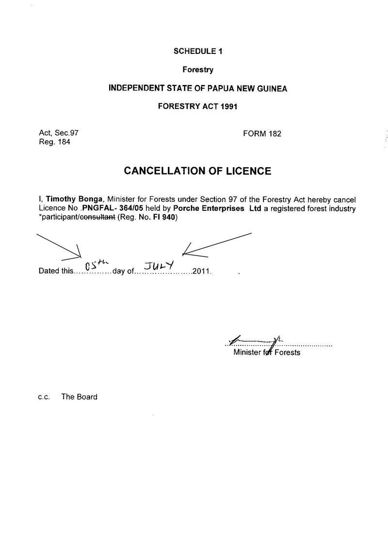 License Cancel 5th July 2011